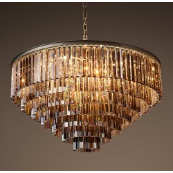 1920s Odeon Glass Fringe Chandelier Smoke (L)