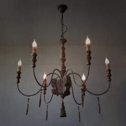 Industrial Retro Wooden Chandelier