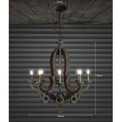 Retro Wooden Chandelier Gray